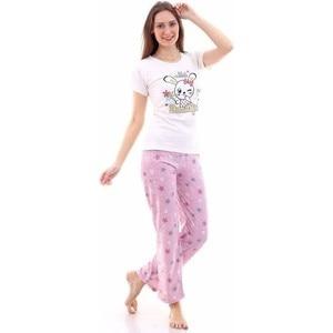 Женский пижамный комплект, белый топ с принтом кролика, футболка с розовым узором в виде звезд, облегающая повседневная домашняя одежда для сна Skesi 2021