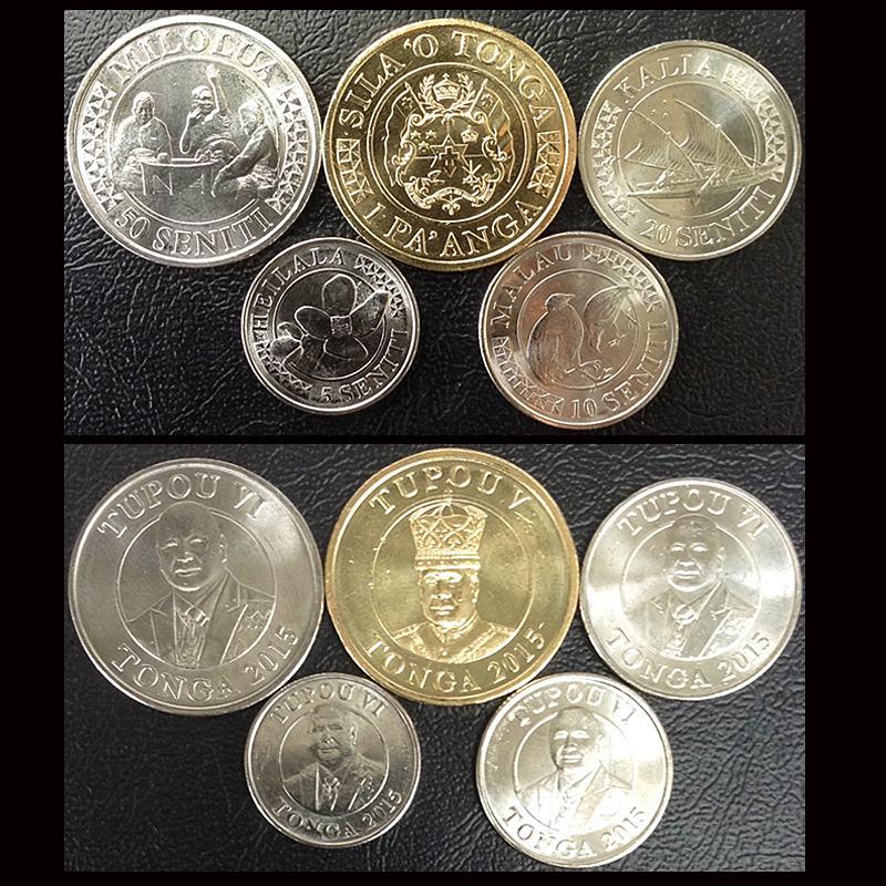 Juego 5 uds. Tonga King Coins Oceanía isla 2015 100% Real Original colección de monedas UNC nuevo