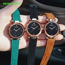 Reloj de cuero elegante resistente al agua con diamantes de oro rosa relojes de pulsera pequeños para mujeres de cuarzo más vendido 2019 productos envío gratis