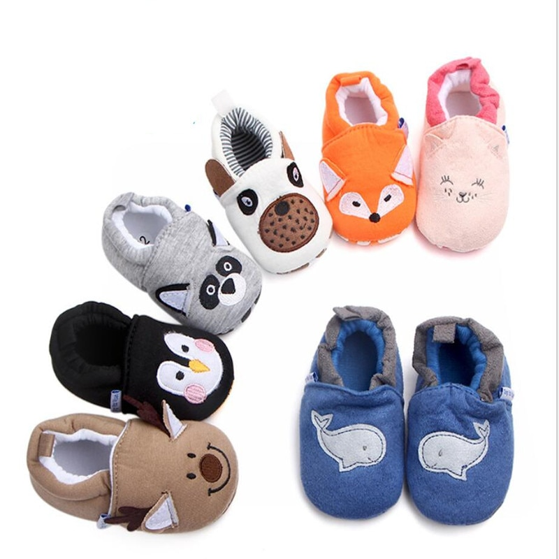 2019 Cute Baby Shoes Newborn Toddler Boy Girl Crib Cartoon Animal Soft Sole Non-slip Infant