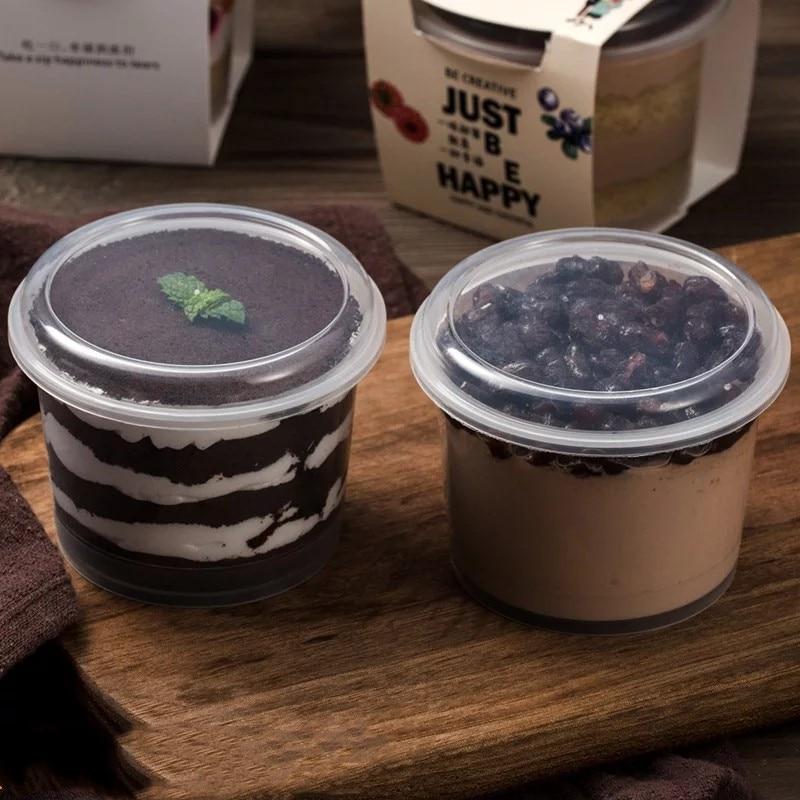 25 uds desechables postre de mousse taza de pudín de tapa de plástico jalea Bol para postre yogur pequeña caja boda fiesta para hornear herramientas