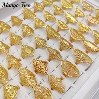 charm 20pcslots flower metal hollow rings for women men vintage carved mixed style jewelry party gifts wholesale