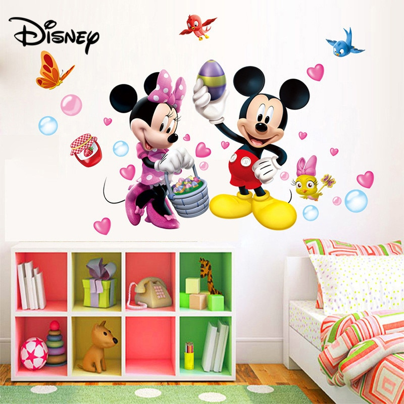 Pegatina de Disney de dibujos animados de Mickey Mouse, pegatina para habitación de niños, decoración para dormitorio, Linda pegatina extraíble