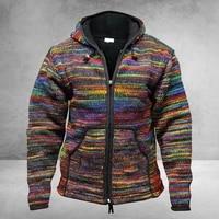 winter knitted cardigan men jacket rainbow striped sweaters coat autumn hoodies men zipper knitted coat vintage knitwear coat