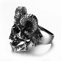 new exaggerated animal ram horn skull shape ring mens ring metal plated silver horror ring accessories party jewelry