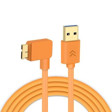 Cable USB 3,0 a micro-b de ángulo recto, transmisión síncrona en tiempo real de tiro en línea naranja de alta visibilidad D810 D810A 5Gbps