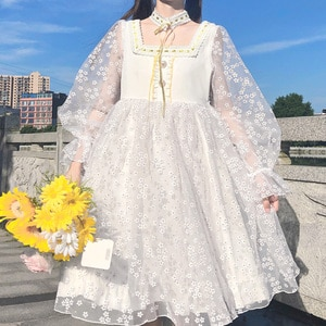 New Japanese Square Collar High Waist Slim Long Sleeve Mesh Dress fairy dress tea party lolita dress sweet lolita doll