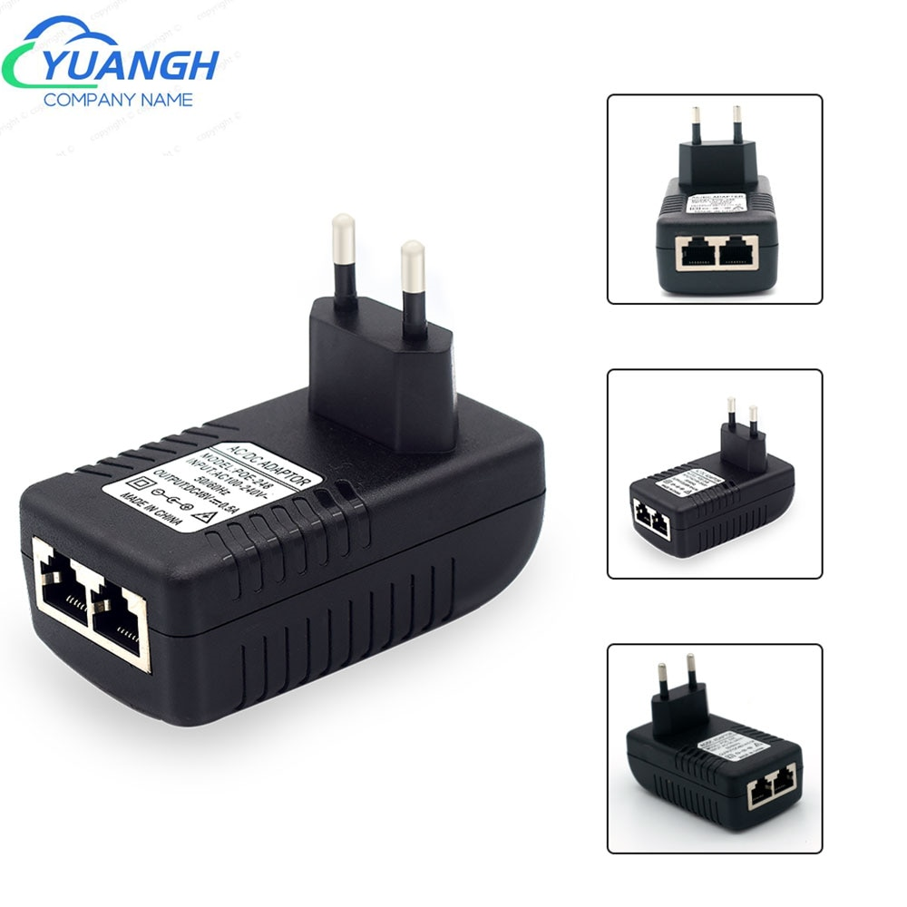 48V /12V POE Injector Ethernet CCTV Power POE Adapter EU/US Plug Option For POE CCTV Camera System enlarge