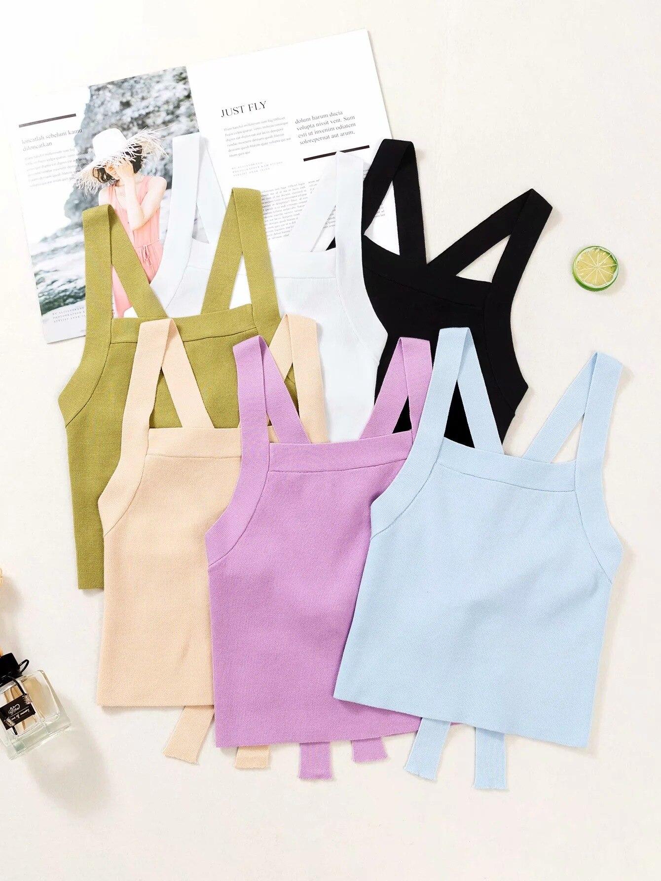 2020 nova marca de moda feminina tank top coletes casual curto sólido poliéster senhora praia menina