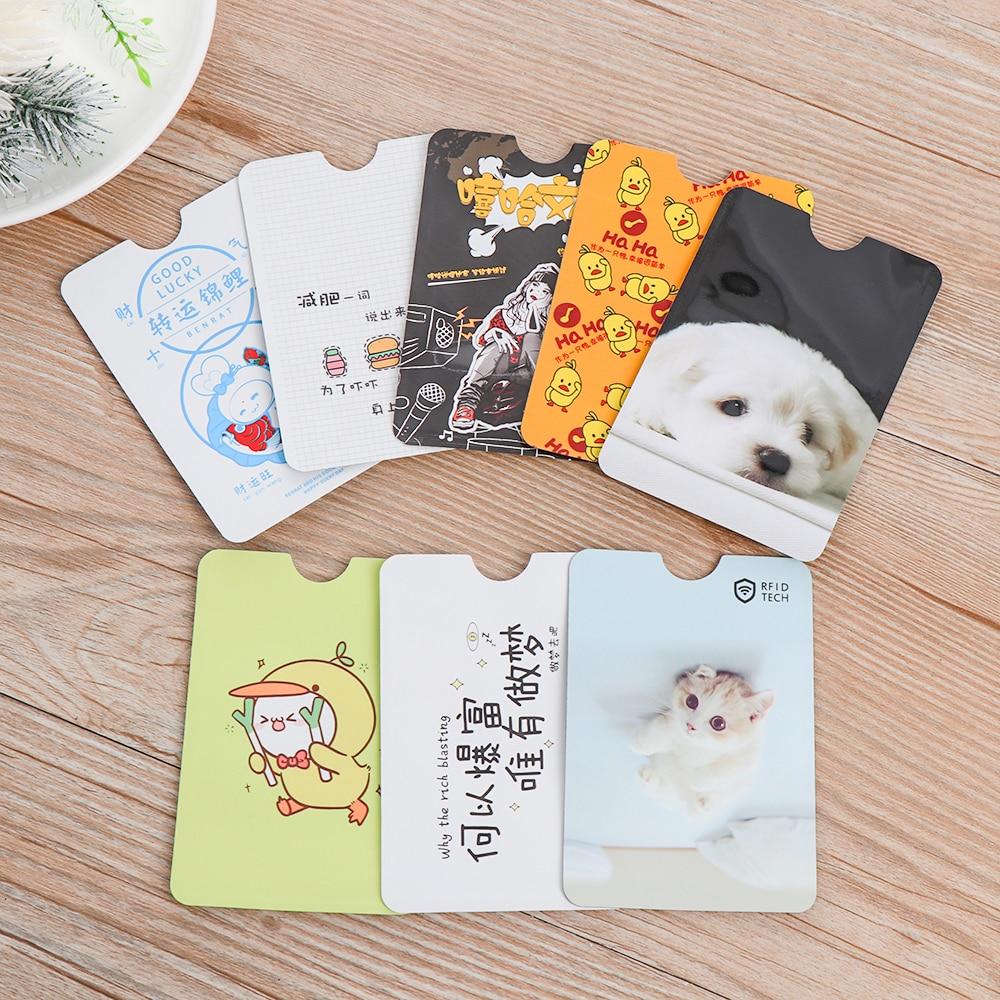 4PC Cute RFID Anti-degaussing Bank Card Holder ID Card Case Bus Card Cover IC Aluminum Foil Bag Card Protector School Supplies