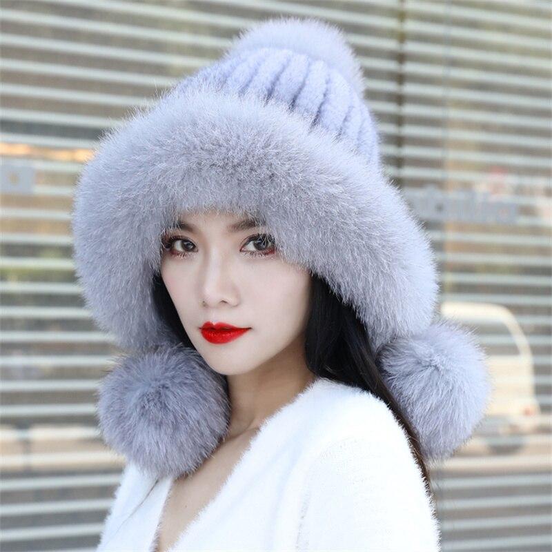 2021 New Russian Women's Mink Fur Hat Elastic Knit 100% Genuine Mink Fur Hat Winter Warm Real For Fur Ball Ear Cap