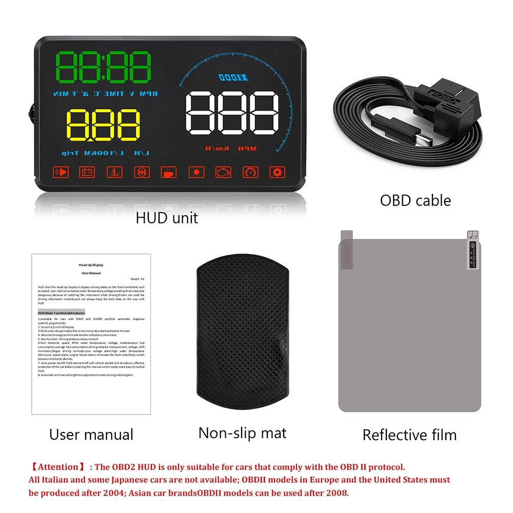 Купить с кэшбэком WiiYii M9 HUD Car Display 5.5 Inch Windscreen Projector OBD2 Car Driving Data Display Speed RPM Fuel Consumption Security Alarm