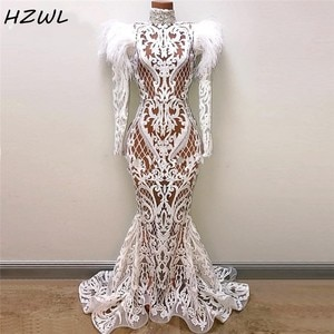 See Through Mermaid Evening Dresses With Long Sleeves Lace Appliques Feathers Dubai African Prom Dress Long Sleeves High Neck