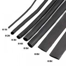 8 Meter/set Schrumpf Schlauch kit 1/2/3/4/5/6/7/8MM 21 Schwarz Schrumpf Schläuche Schrumpf Sleeving Wrap DIY Stecker draht kit
