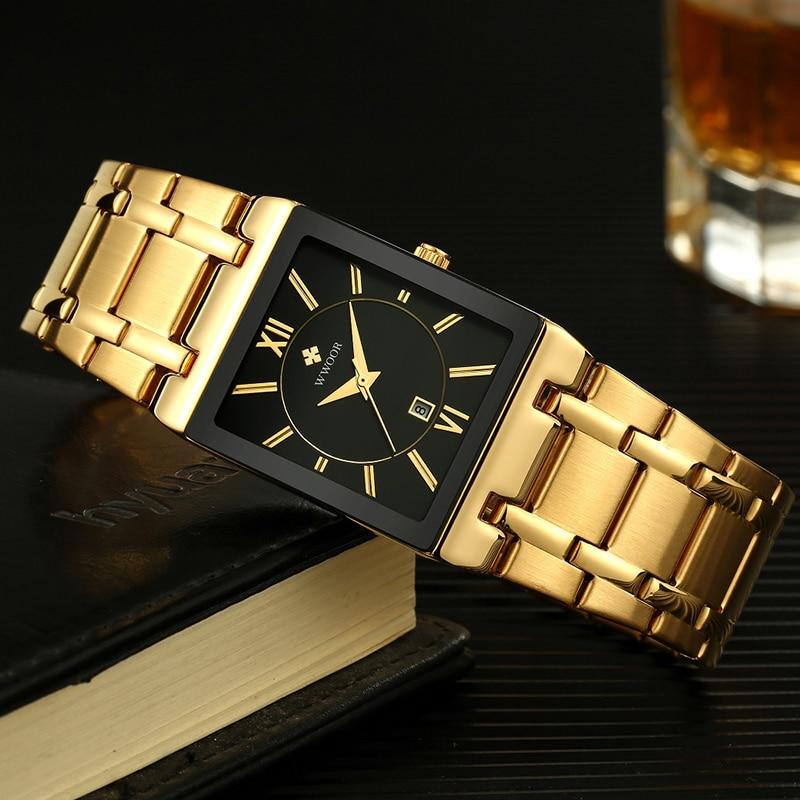 Relojes 2020 WWOOR Brand Watch Men Fashion Square Quartz Wrist Watches For Men Business Sport Waterproof Clock Relogio Masculino