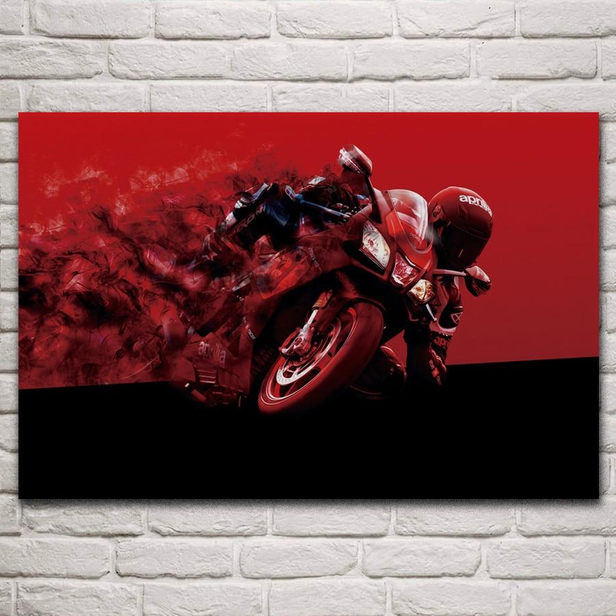 Póster de tela para sala de estar, decoración de pared para el hogar, Impresión de arte en seda KM582 de Motociclismo