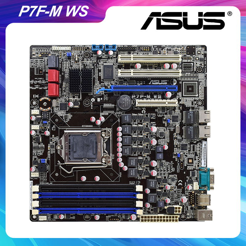 ASUS P7F-M WS LGA 1156 Intel 845 Desktop PC Motherboard DDR3 32GB Xeon Core i3 i5 i7 Cpus 6×USB2.0 6×SATA II PCI-E x16 Micro ATX
