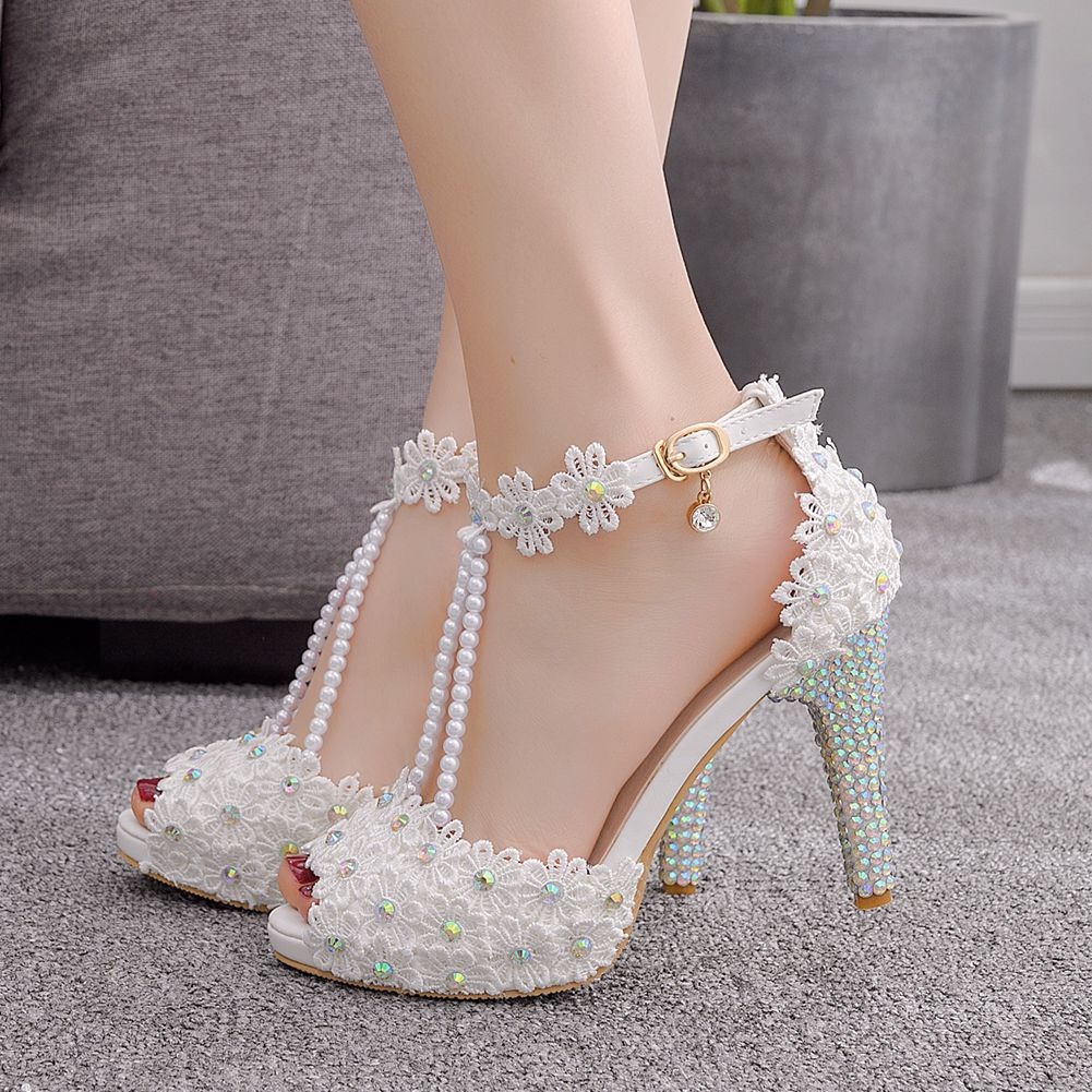 Women Sandals 2021 Summer Woman Dress Shoes Bling Weddging Shoes White Thin High Heels Pumps Ladies