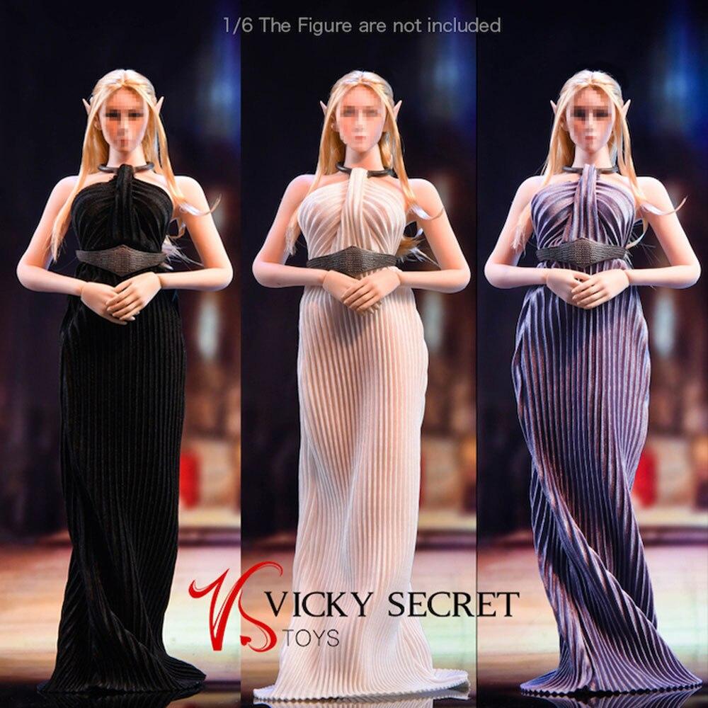 فستان نسائي طويل ، موديل 1/6 ، موديل 19 × g61 ، إكسسوارات ، ياقة ، حزام ، 12 بوصة ، متوفر