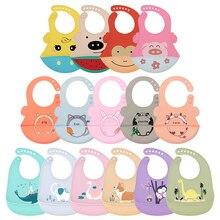32 choose!Silicone Baby Bibs waterproof Baby Saliva Towel Animal Adjustable Cloths Bandana Soft Feeding Cartoon Aprons 1PC