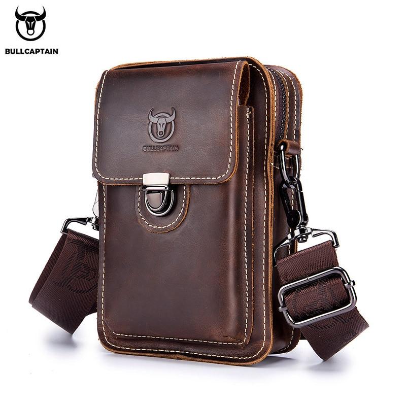 BULLCAPTAIN Crazy horse leather Male Waist Pack Phone Pouch Bags Waist Bag Men's Small chest Shoulde