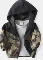 children camouflage hooded coat boys long sleeve elastic hem zip up jacket with pockets