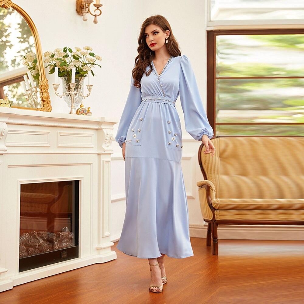 رمضان عيد مبارك عباية دبي مسلم موضة الحجاب فستان طويل تركيا الإسلام الملابس رداء طويل فساتين للنساء Vestidos