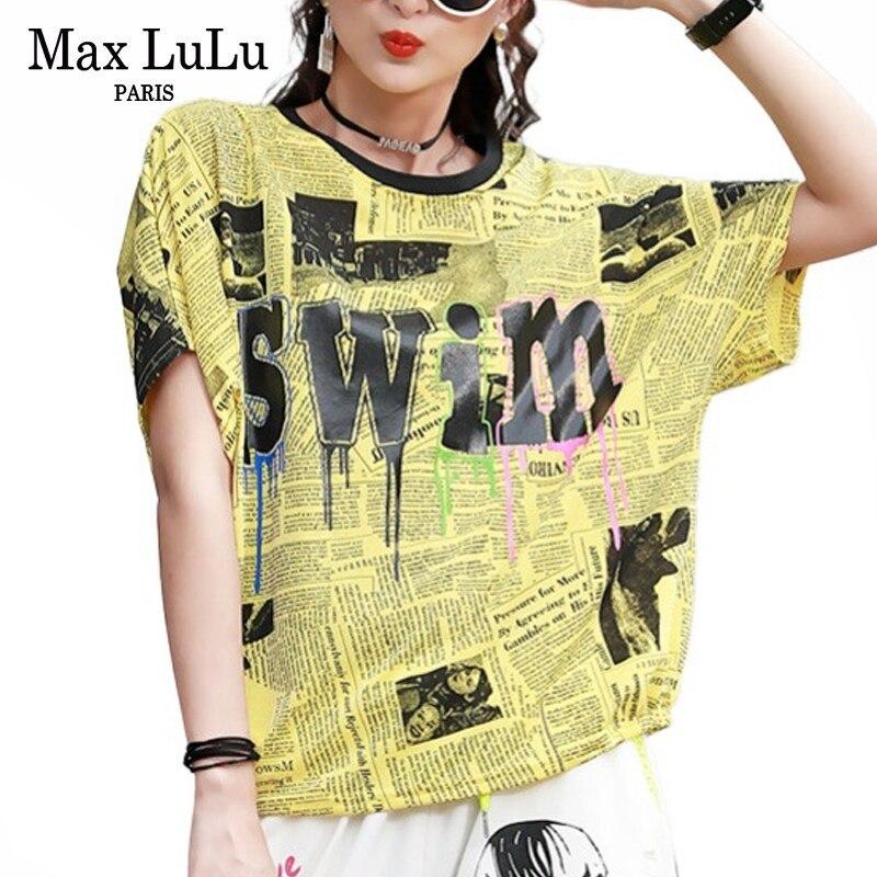 Max LuLu, novedad de 2020, moda de verano para mujer, camisetas de lujo estampadas, camisetas de manga corta para mujer, camisetas de calle de gran tamaño para mujer