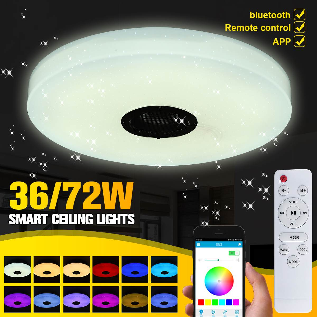 36W 72W Modern RGB Music Led Ceiling Light Remote&APP Control Dimmable RGB Flush Mount Music Ceiling Lamp With bluetooth Speaker