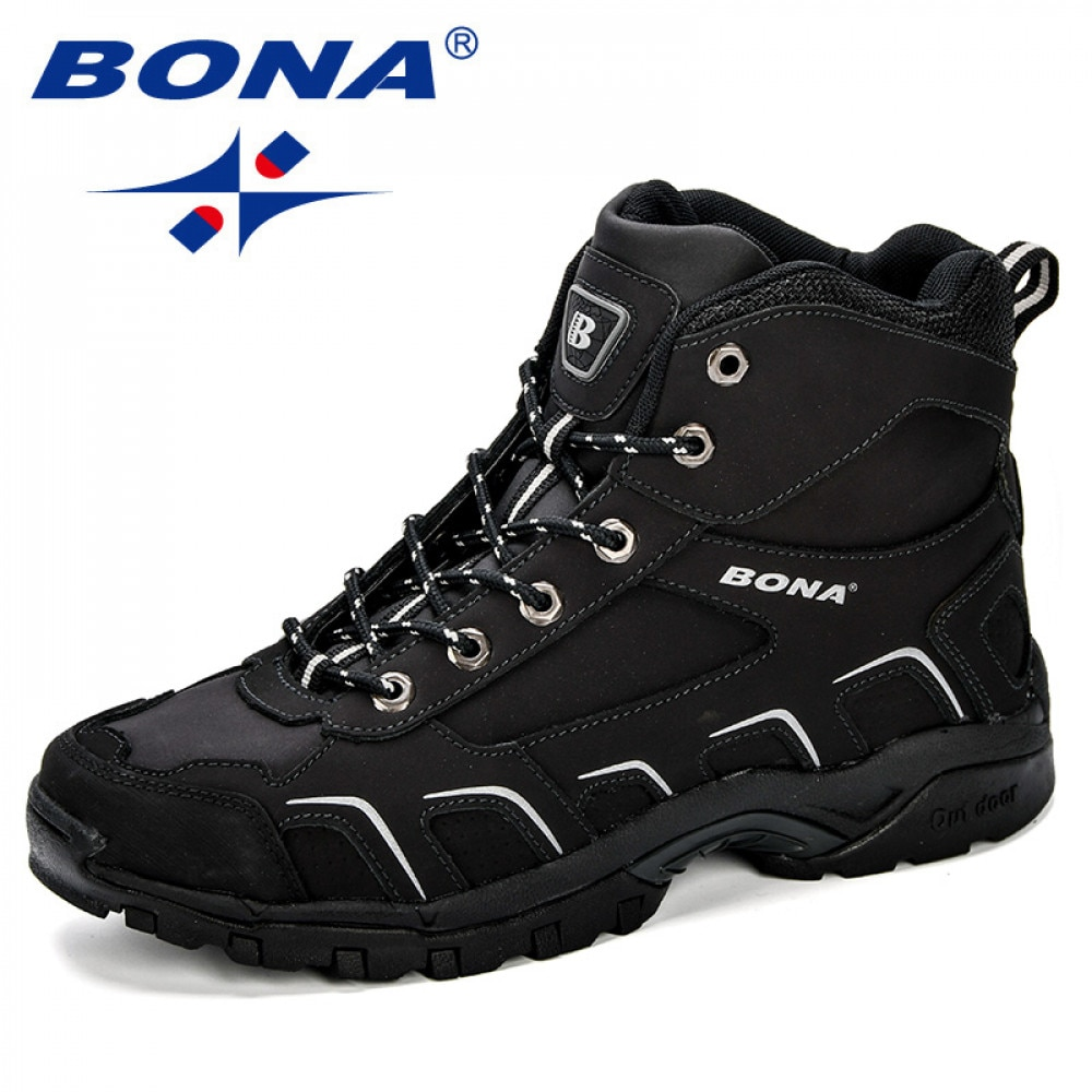 BONA New Trendy Design Men Hiking Shoes Anti-Skid Mountain Climbing Boot Outdoor Athletic Breathable Leather Trekking