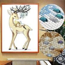 Meian 5D Diamond Painting Angel Elk Full Drill Diamond Mosaic Sets Diamant DP Kits Special Shaped Diamond Embroidery Animals