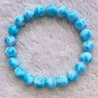 9 7mm genuine natural blue larimar gemstone round beads bracelet bangle water pattern larimar women aaaaaa