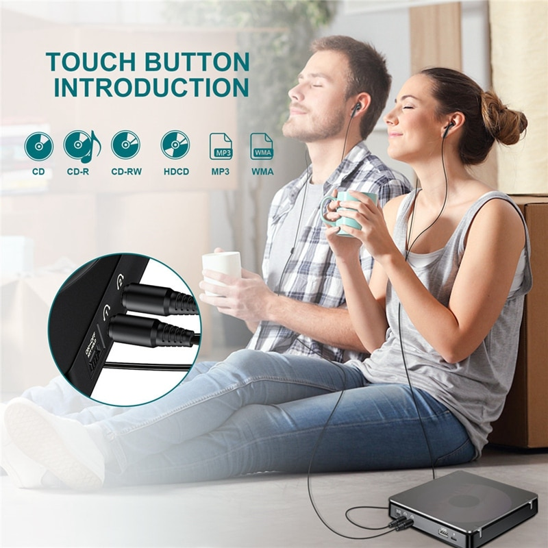 Portable CD Player Double Headphone Version Contact Button Reproductor CD Walkman Rechargeable Shockproof LCD Display enlarge