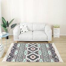 Bohemian Large Carpets For Living Room Tassel Cotton Linen Bedroom Area Rugs Floor Mat Hand Woven Geometric Turkey Carpet