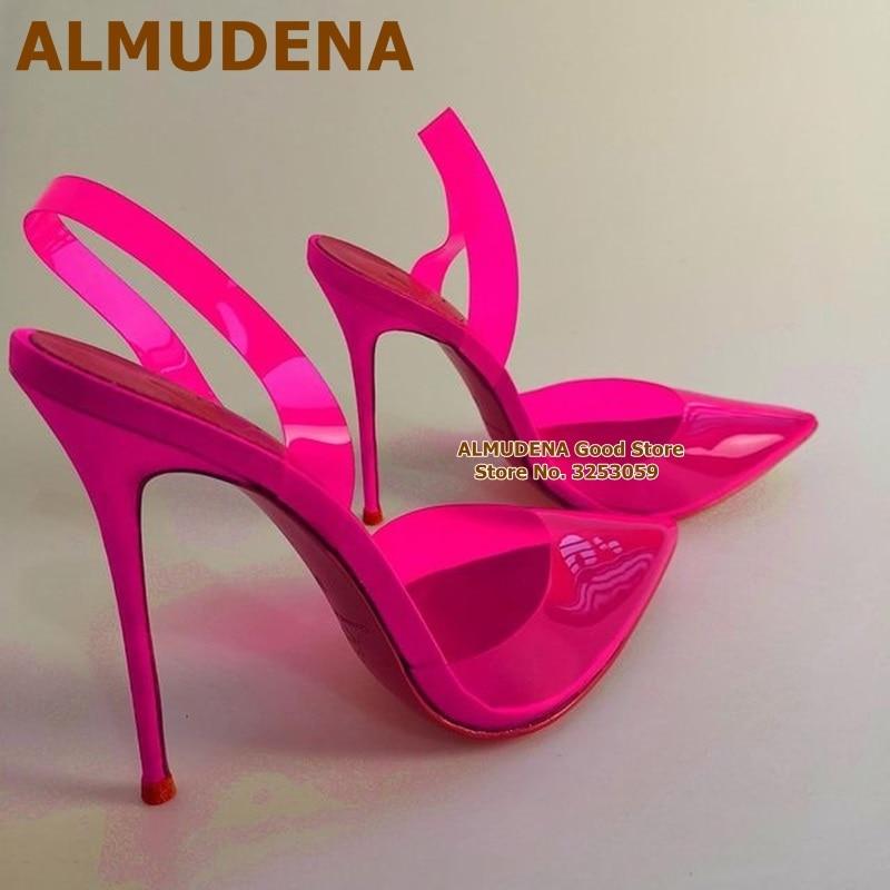 ALMUDENA واضح فوشيا الوردي بولي كلوريد الفينيل أحذية عالية الكعب خنجر كعب أشار تو شفاف الزفاف مضخات مصمم مأدبة الأحذية