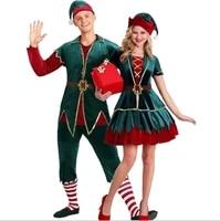 couples christmas elf costume womenmen santa claus cosplay costume xmas santas helper costume outfit for women men plus size