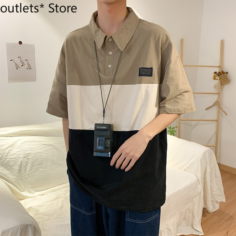 Summer Mens POLO Shirt Small Fresh Color Matching Five-point Short-sleeved T-shirt Casual Lapel Top