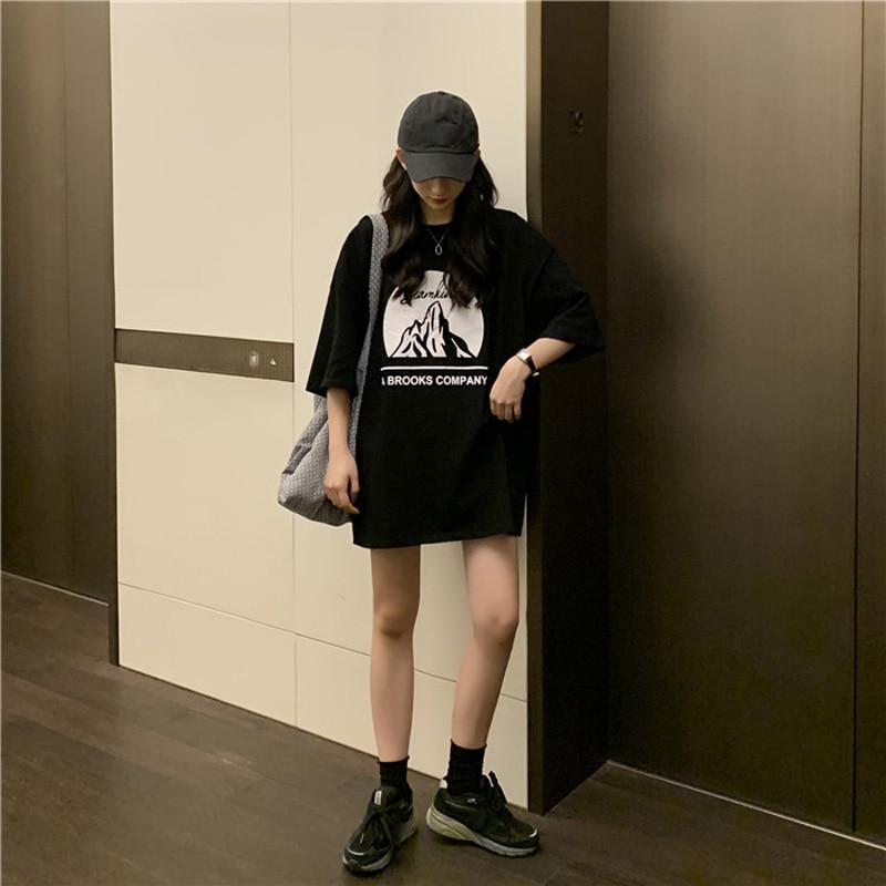 Maxxo Harajuku High Street Women's Short Sleeve T-Shir Medium Length Tee Aesthetic Clothes  Goth Urban Y2k Top Grunge Clothes enlarge