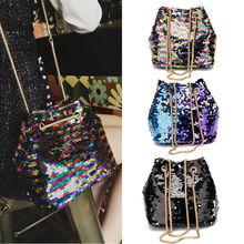 1PC New And Fashion Classic Women's Mermaid Sequin Glitter Bag Leather Purse Shoulder Crossbody Handbag