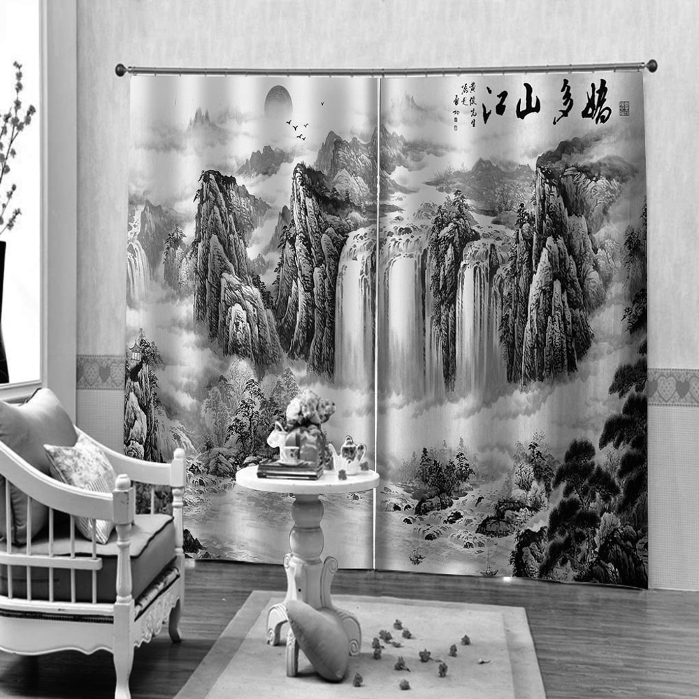 High Quality 3D Curtain Blackout Black And White Mountain Landscape Curtains For Living Room Bedroom Home Decor