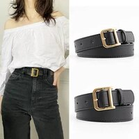 new fashion pu leather belt for women retro metal d buckle waist straps all match dress trousers lady girl decoration waistband