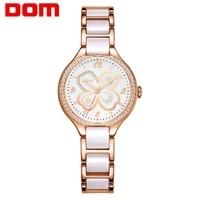 women wrist watches dom fashion ceramics watchband luxury brand ladies geneva quartz clock g 1271s