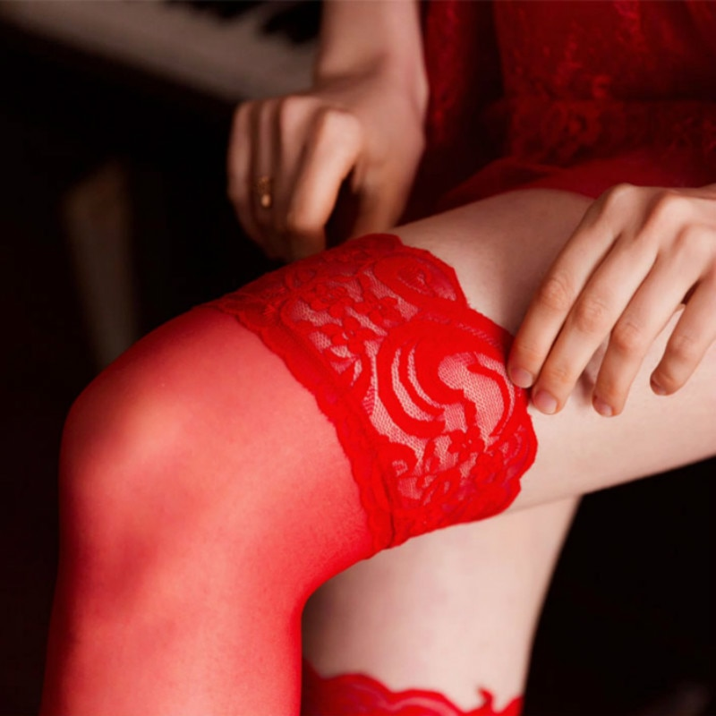 Medias de encaje por encima de la rodilla para mujer, ropa interior Sexy, Medias hasta el muslo