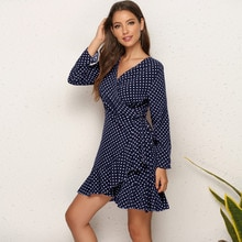 2020 Brand New Womens Dress Sexy Polka Dot Dress Flounced Irregular Women Dresses Woman Clothing Dress For Female