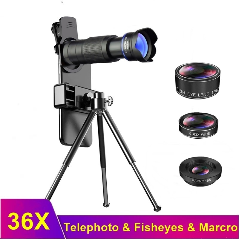 Tongdaytech 36X الهاتف عدسة الكاميرا 4 في 1 تليسكوب المقربة التكبير عين السمكة الماكرو العدسات للهاتف عدسة آيفون سامسونج شاومي