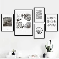 black white texture tree rings wood cut wall art canvas painting nordic posters and prints wall pictures for living room decor