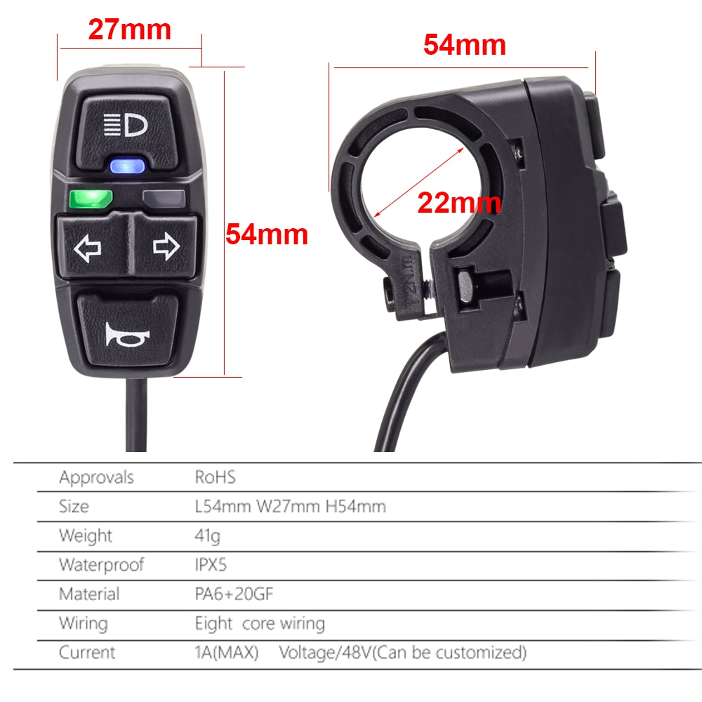 Electric Bike Scooter Light Switch DK226 Ebike Lamp and Horn Switch DK336 for Motorcycle Button can Control Turn Signal Light