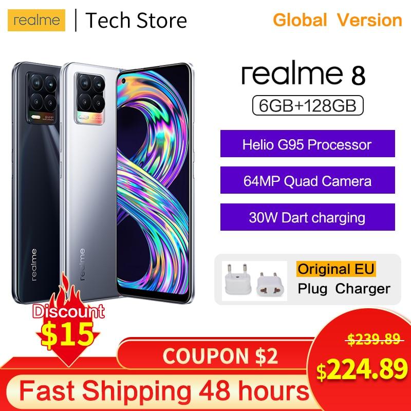 Перейти на Алиэкспресс и купить Оригинальный realme 8 смартфон Helio G95 6 ГБ 128 активно-матричные осид, Дисплей 64-мегапиксельная четырехъядерная камера 5000 мА/ч, 30W DartCharge NFC Android теле...