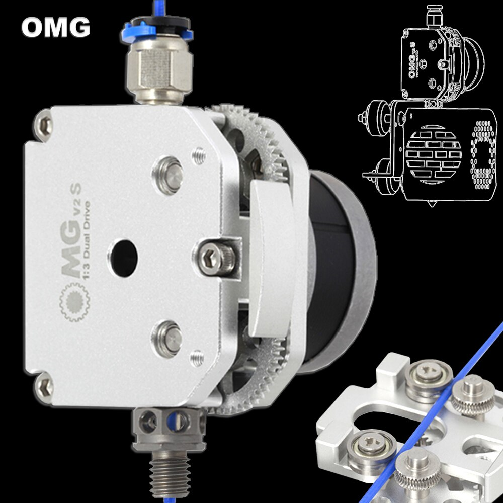OMG جميع المعادن الألومنيوم المباشر البثق المزدوج محرك بودن للطابعة ثلاثية الأبعاد أندر 3 تحديث أوربيتير تيتان ايرو BMG eثلاثية الأبعاد MK8 H2 V6
