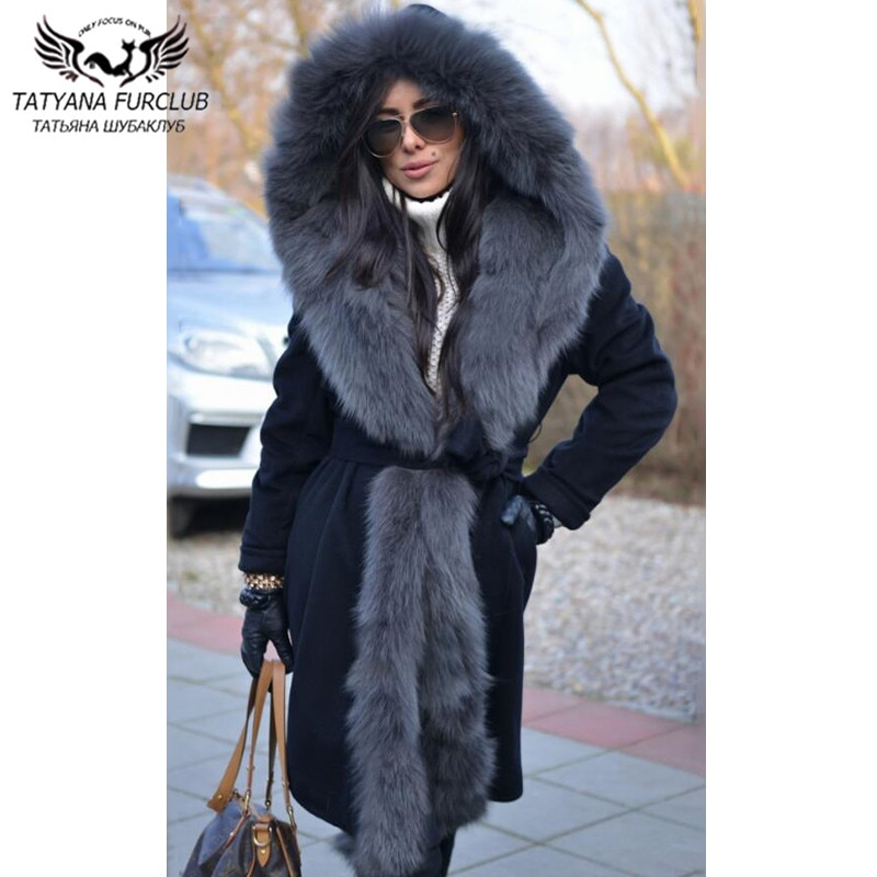 90cm Long Black Winter Women Cashmere Coat With Long Fox Fur Collat Warm Hood Natural Fox Fur Hooded Wool Blend Coat Luxury 2021 snap button hooded drop shoulder wool blend coat